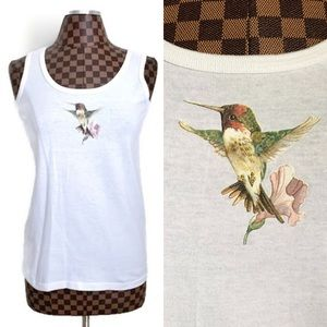 Vtg 90s Hummingbird White Tank Top Anvil S/M